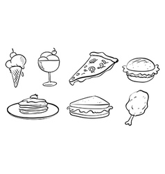Doodle designs of the different foods vector