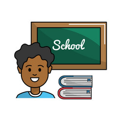 Student with board and books tools vector
