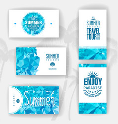 Set of geometric summer visiting card vector