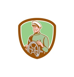 Fisherman sea captain wheel shield retro vector