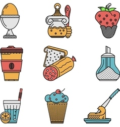 Breakfast colored flat icons collection vector