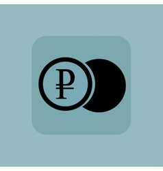 Pale blue ruble coin icon vector