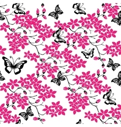 Twig cherry blossoms and butterfly seamless vector