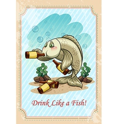Drunk fish drinking alcohol vector