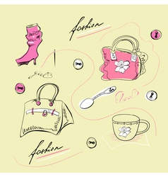 Set of female fashion accessories vector