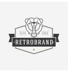 Vintage bear face line art logotype emblem symbol vector