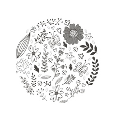 Elegant round composition with flowers leaves and vector image
