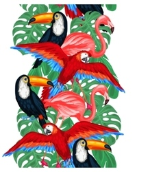 Tropical birds seamless pattern with palm leaves vector