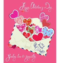 Ornament hearts envelope 2 380 vector
