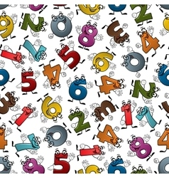 Funny colorful cartoon numbers seamless pattern vector