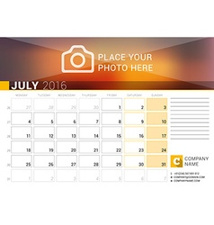 Desk calendar for 2016 year july design print vector