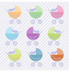 Set of baby carriages vector
