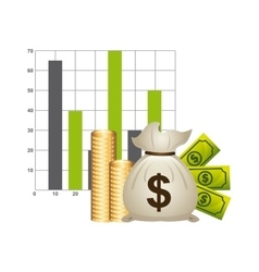 Money with statistics isolated icon design vector