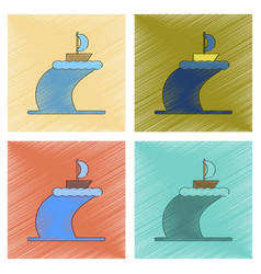 Assembly flat shading style icon ship storm vector