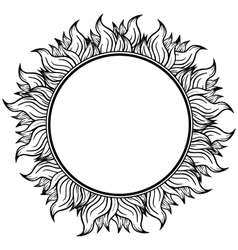 Black white circle frame with spurts of flame vector