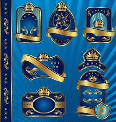 Blue royal labeles blanck vector