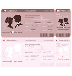 boarding pass ticket wedding invitation template vector image vector image