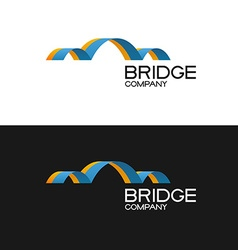 Bridge building company logo template 3D color vector image