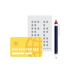 Check pen and credit card vector