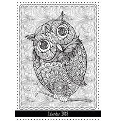 Christmas owl calendar cover design for 2018 year vector
