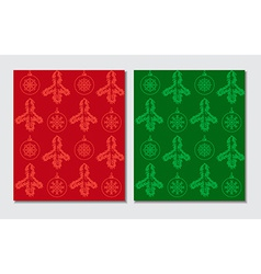 Christmas themed seamless patterns vector image vector image