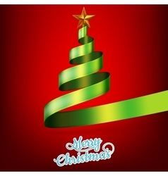 Christmas tree from green ribbon and star EPS 10 vector image vector image