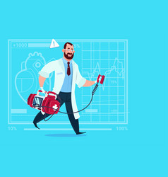 doctor running with defibrillator medical clinics vector image