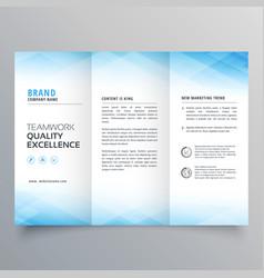 Elegant blue trifold brochure flyer design vector