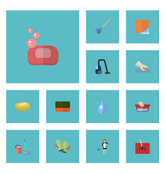 flat icons foam sweeper sponge and other vector image vector image