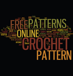 Free online crochet patterns text background word vector