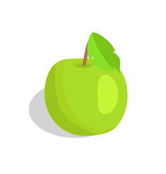 green apple with leaf isolated vector image