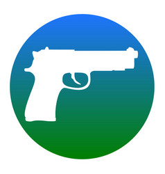 Gun sign white icon in vector