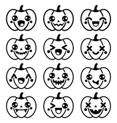 Halloween Kawaii cute black pumpkin icons - vector image