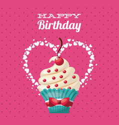 Happy birthday sweet dessert celebration vector
