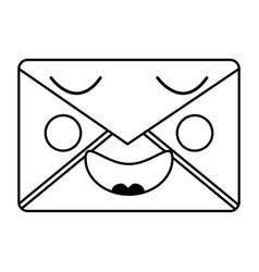 Mail envelope kawaii character smiling vector