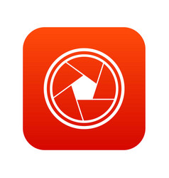 Photo objective icon digital red vector