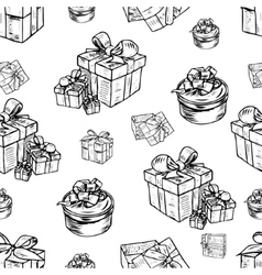 seamless pattern of gift boxes vector image