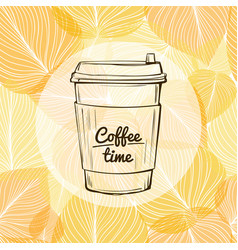 seasonal still life and morning coffee to go vector image