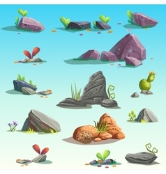 Set of isolated stones boulders vector