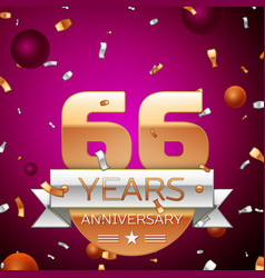 Sixty six years anniversary celebration design vector