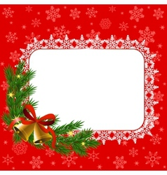 snowflake frame and bells vector image vector image