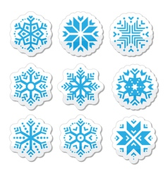 Snowflakes icon set on black and white background vector image vector image