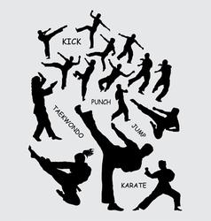 Taekwondo martial art silhouettes vector image vector image