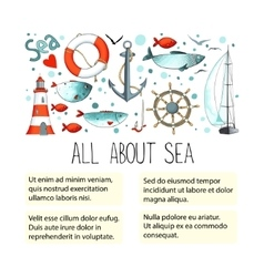 Template for ads or artical about sea vector