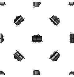 Train waggon with coal pattern seamless black vector