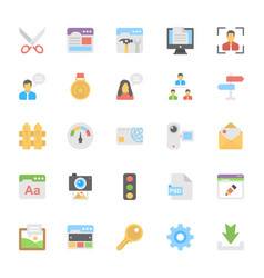 web design flat colored icons 7 vector image