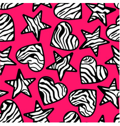 Zebra print hearts and stars background vector image vector image