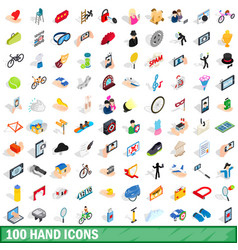 100 hand icons set isometric 3d style vector