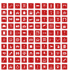 100 mirror icons set grunge red vector