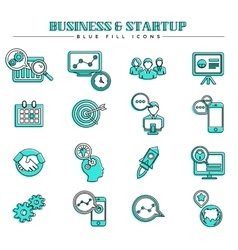 Business and startup blue fill icons set vector image